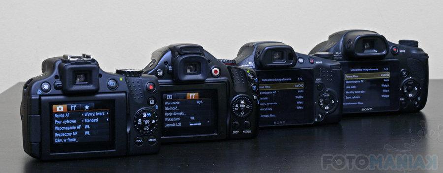 aparatów typu superzoom: Canon SX50 HS, SX40 HS, Sony HX300 i HX200V